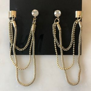 H&M Gold and Rhinestone Earring With Cuff